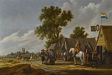 PIETER DE NEYN   Horsemen and travelers standing in front of an encampment, a view of aruined tower beyond