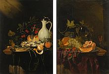 HARMEN LOEDING   Still life of oysters and a fish, a peeled lemon, cherries, a façon de Venise glass and a mounted Faience jug on a partially-draped table;Still life of a melon, grapes, peaches and a glass <em>roemer</em> on a partially-draped table