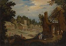 FOLLOWER OF WILLEM VAN NIEULANDT THE YOUNGER   Landscape with Tobias and the Angel