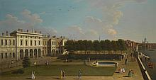ENGLISH FOLLOWER OF GIOVANNI ANTONIO CANAL, CALLED CANALETTO | London, A view of the Thames from the terrace of Old Somerset House, Saint Paul's in the distance