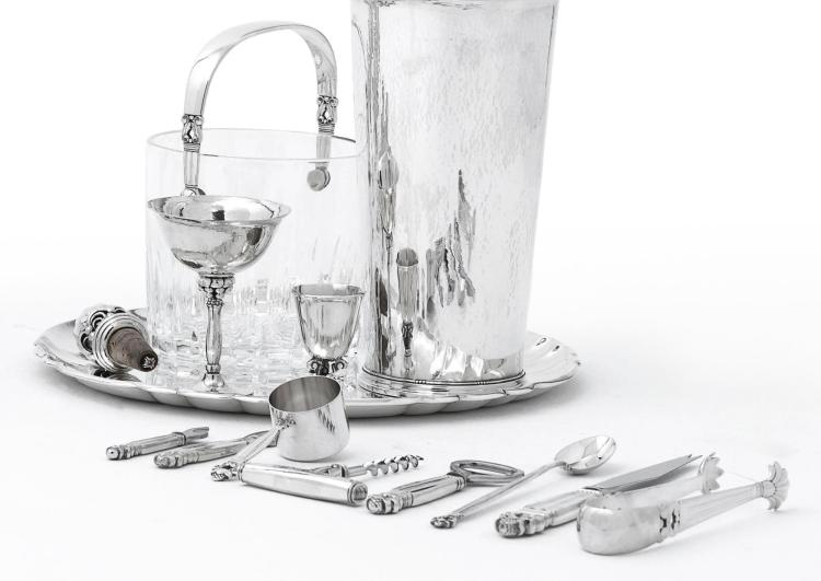 A DANISH SILVER AND CUT-GLASS ACORN PATTERN ICE BUCKET AND GROUP OF SILVER BAR TOOLS, GEORG JENSEN SILVERSMITHY, COPENHAGEN, MID 20TH CENTURY |