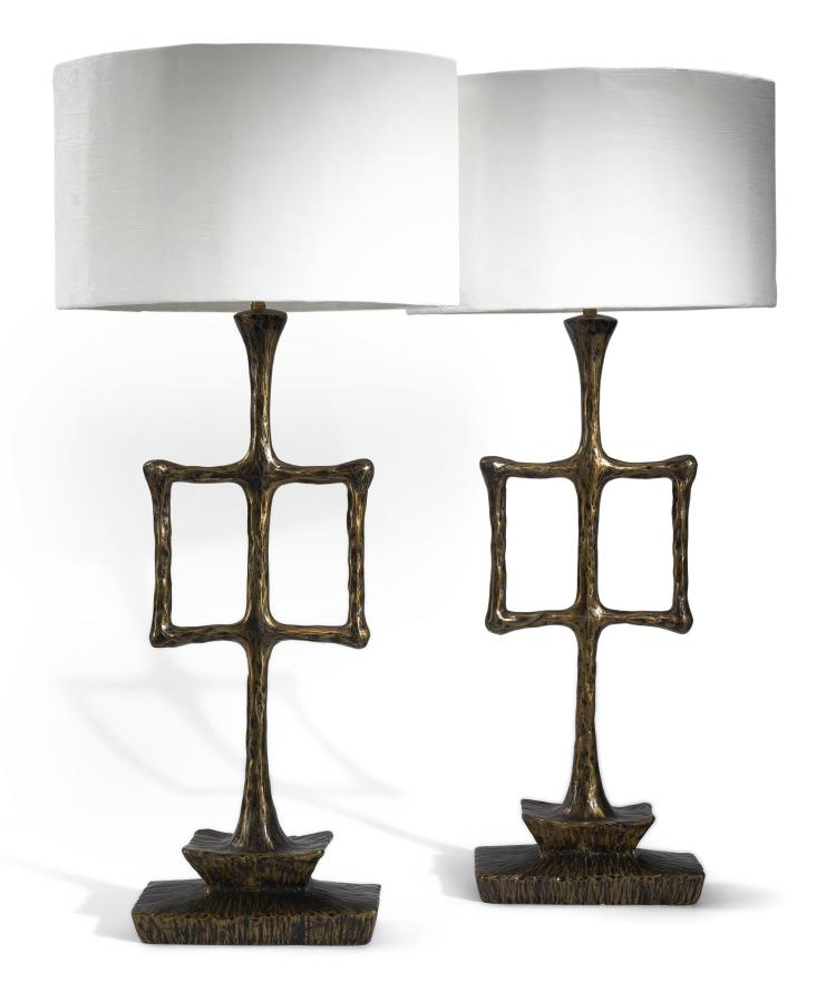 A PAIR OF BRONZE AND PLASTER LAMP SCULPTURES, ALEXANDRE LOGÉ, PARIS, EARLY 21ST CENTURY |