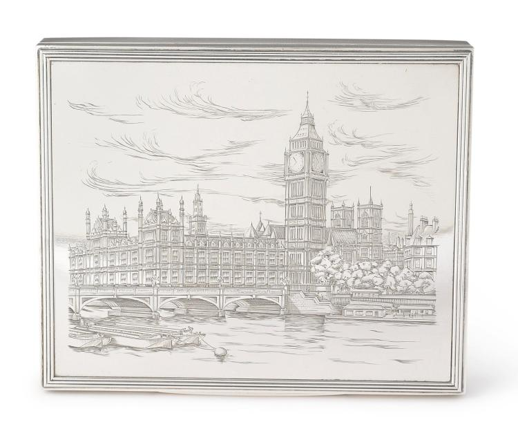 AN ENGLISH SILVER BOX WITH THE HOUSES OF PARLIAMENT, ASPREY & CO., LONDON, 1951/60 |