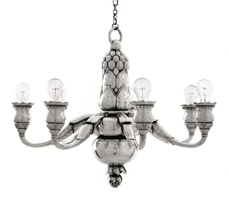 A RARE DANISH SILVER SEVEN-LIGHT CHANDELIER #316, DESIGNED BY GEORGE JENSEN, GEORG JENSEN SILVERSMITHY, COPENHAGEN, EARLY 2000S |