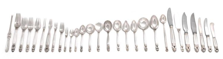 AN EXTENSIVE ASSEMBLED SET OF DANISH SILVER ACORN PATTERN FLATWARE, GEORG JENSEN SILVERSMITHY, COPENHAGEN, 20TH CENTURY |