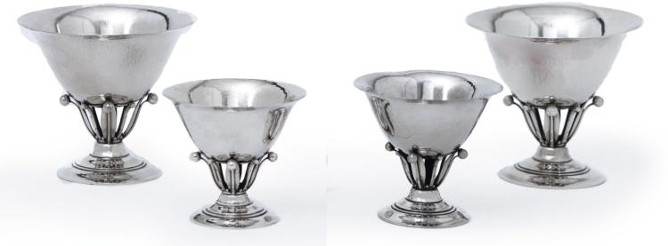 A SUITE OF FOUR DANISH SILVER BOWLS #17A-B, DESIGNED BY JOHAN ROHDE, GEORG JENSEN SILVERSMITHY, COPENHAGEN, 1925-32 AND LATER  