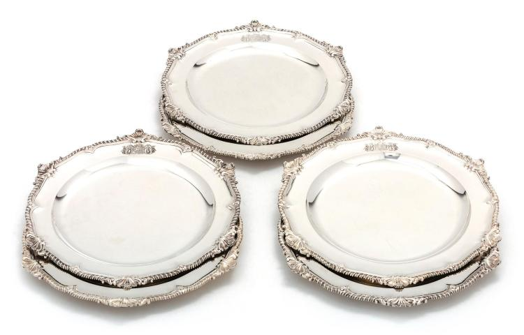 A RARE SET OF SIX GEORGE III SILVER LARGE SECOND-COURSE DISHES, THOMAS HEMING, LONDON, 1766-67 |