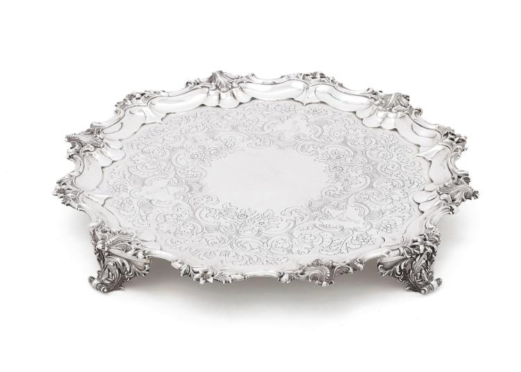 A VICTORIAN LARGE SILVER SALVER, BARNARD BROTHERS, LONDON, 1845 |