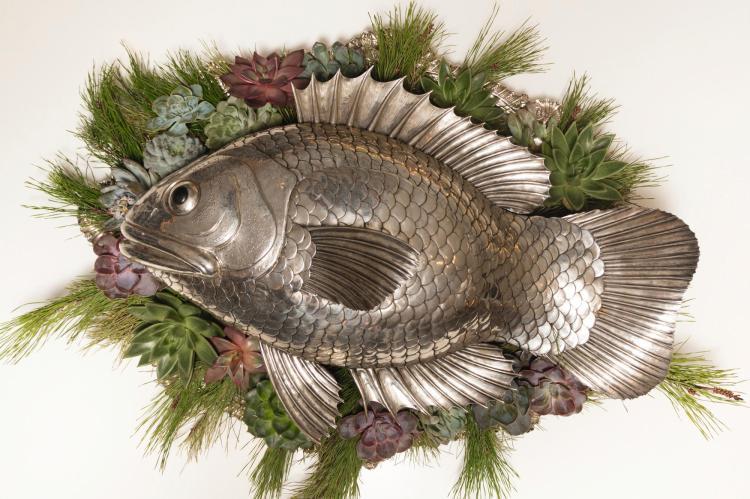 AN ITALIAN SILVERLARGE FISH-FORM CAVIAR DISH, GIANMARIA BUCCELLATI, 20TH CENTURY  