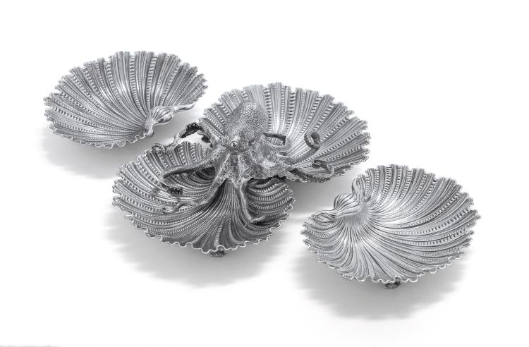 AN ITALIAN SILVER OCTOPUS BOWL AND PAIR OF MATCHING SHELLS, GIANMARIA BUCCELLATI, BOLOGNA, LATE 20TH CENTURY |