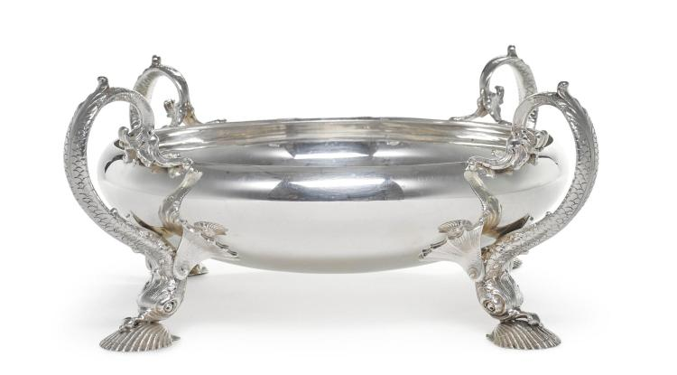 AN AMERICAN SILVER MARINE CENTERPIECE, REDLICH & CO., NEW YORK, RETAILED BY SPAULDING & CO., CHICAGO, EARLY 20TH CENTURY |