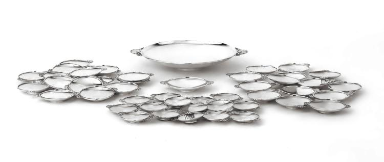 A SUITE OF DANISH SILVER SHELL-HANDLED DISHES #355, DESIGNED BY GUNDORPH ALBERTUS, GEORG JENSEN SILVERSMITHY, COPENHAGEN, 1925-32 AND LATER  