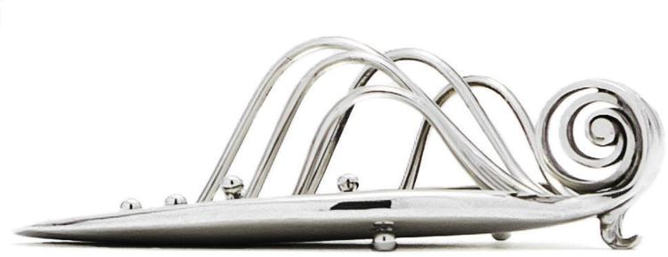 A RARE DANISH SILVER TOAST RACK #510B, DESIGNED BY GUSTAV PEDERSEN, GEORG JENSEN SILVERSMITHY, COPENHAGEN, CIRCA1944 |