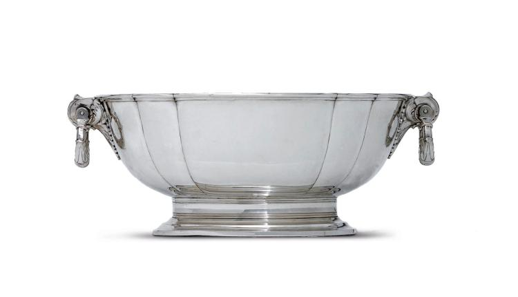 A DANISH SILVER OVAL CENTERPIECE, L. BERTH, COPENHAGEN, 1934 |