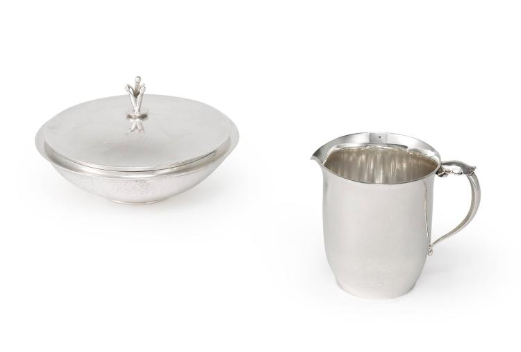 A DANISH SILVER CREAMER #444B AND COVERED SUGAR BOWL #172P, DESIGNED BY HARALD NIELSEN, GEORG JENSEN SILVERSMITHY, COPENHAGEN, 1933-44 / 1945-77 |