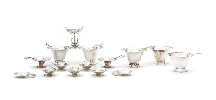 A GROUP OF CANADIAN SILVER SERVING PIECES, CARL POUL PETERSON, MONTREAL, CIRCA 1950-60 |