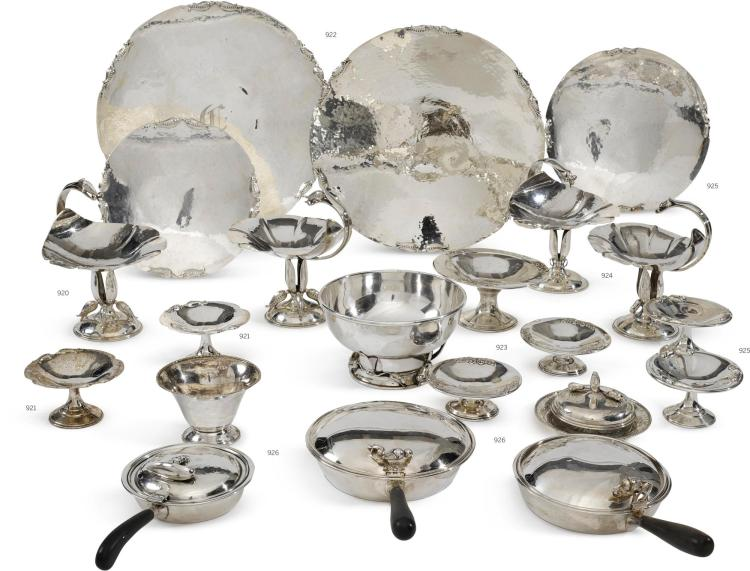 A PAIR OF CANADIAN SILVER 'PEA' CIRCULAR TRAYS, CARL POUL PETERSON, MONTREAL, CIRCA 1950-60 |