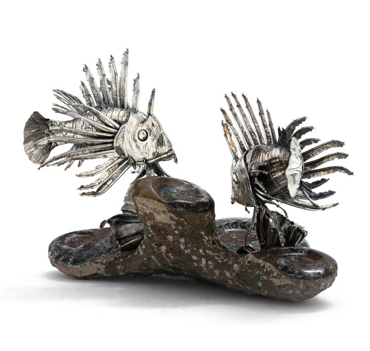A PAIR OF ITALIAN SILVER LION FISH, BUCCELLATI, MILAN, 20TH CENTURY |