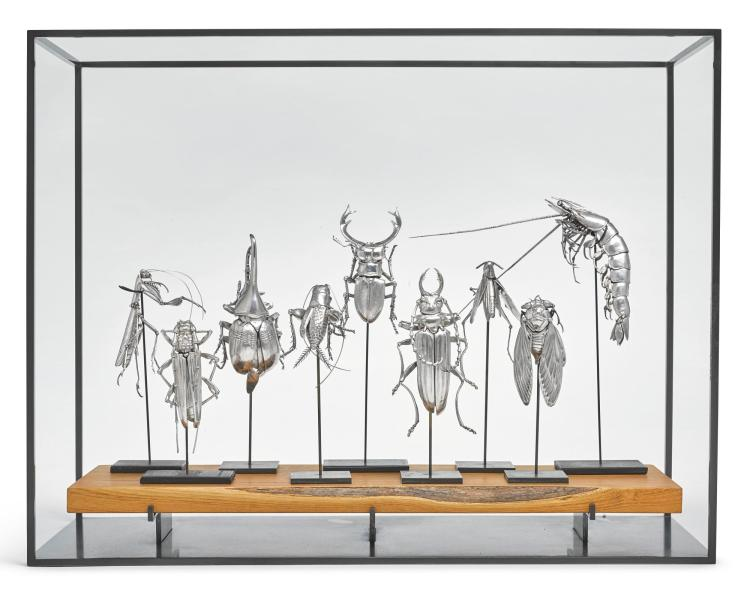 A GROUP OF NINE AMERICAN SILVER ARTICULATED CREATURES, OLEG KONSTANTINOV, KENSINGTON, MD, CONTEMPORARY |