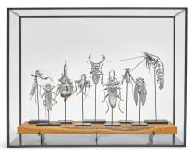 A GROUP OF NINE AMERICAN SILVER ARTICULATED CREATURES, OLEG KONSTANTINOV, KENSINGTON, MD, CONTEMPORARY  