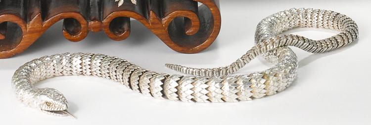 AN AMERICAN SILVER ARTICULATED SNAKE, OLEG KONSTANTINOV, KENSINGTON, MD, CONTEMPORARY |