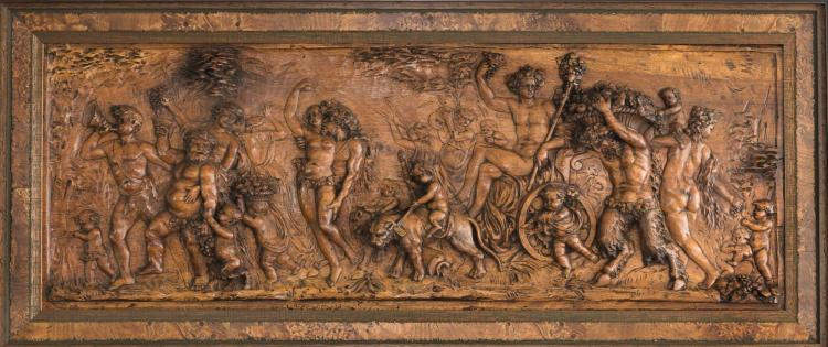 AN ITALIAN FRUITWOOD TRIUMPH OF BACCHUS PANEL, LATE 19TH CENTURY |