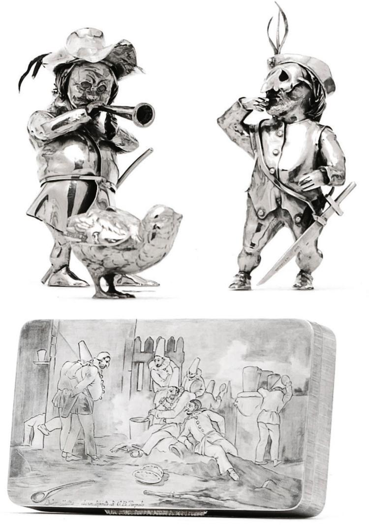 AN ITALIAN SILVER TIEPOLO-STYLE BOX AND TWO SIMILAR FIGURES, BUCCELLATI, 20TH CENTURY |