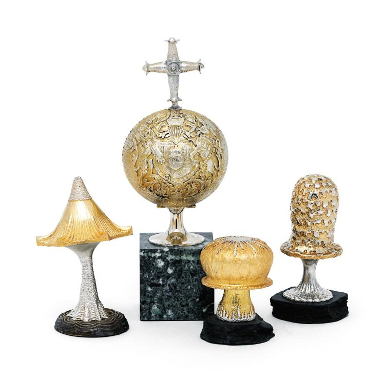 A SET OF THREE ENGLISH PARCEL-GILT SILVER, ENAMEL, AND HARDSTONE LIMITED EDITION NOVELTY MUSHROOMS AND A SURPRISE ORB, CHRISTOPHER NIGEL LAWRENCE, LONDON, 1981-88  