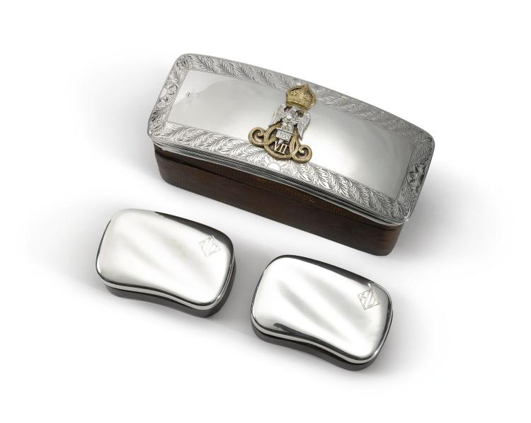 AN EDWARD VII PARCEL-GILT SILVER CARTOUCHE, NOW MOUNTED AS A BOX, CIRCA 1900 |