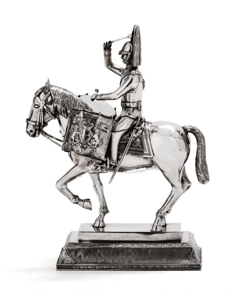 AN ITALIAN SILVER FIGURE OF A ROYAL HOUSEHOLD CAVALRY DRUM HORSE AND RIDER, MARIO BUCCELLATI, CIRCA 1960 |