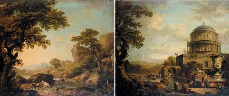 GEORGE BARRET, R.A. 1728-1784 AN EXTENSIVE RIVER LANDSCAPE WITH A DROVER AND CATTLE IN THE