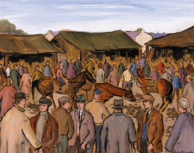 f - GLADYS MACCABE B.1918 HORSES IN A RING