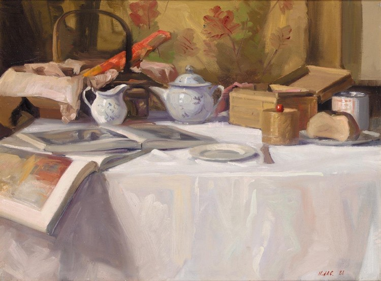 NICCOLO D'ARDIA CARACCIOLO, R.H.A. 1941 - 1989 STILL LIFE WITH TEAPOT AND BOOKS