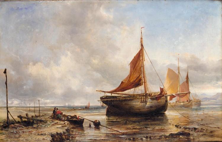 EDWIN HAYES, R.H.A., R.I., R.O.I. 1820-1904 ASHORE NEAR THE BREAKWATER, DOLLYMOUNT STRAND, DUBLIN