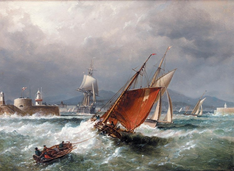 RICHARD BRYDGES BEECHEY 1808-1895 SHIPPING OFF DUN LAOGHAIRE