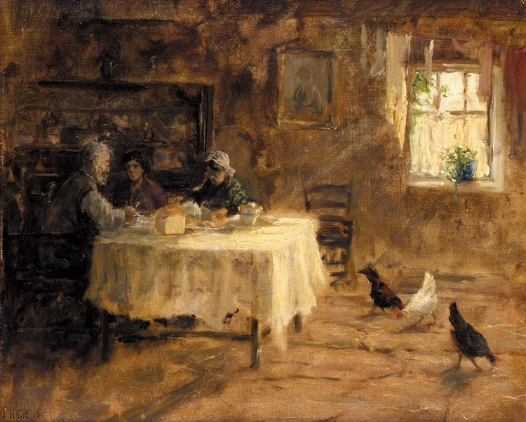 JAMES HUMBERT CRAIG, R.H.A., R.U.A. 1878-1944 COTTAGE INTERIOR WITH CHICKENS