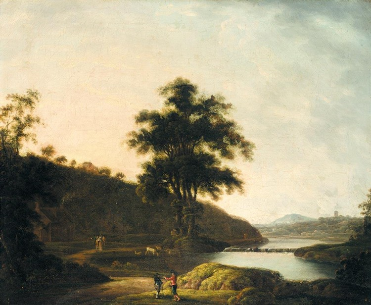 JAMES COY C.1750-1780 AN EXTENSIVE RIVER LANDSCAPE WITH FIGURES IN THE FOREGROUND