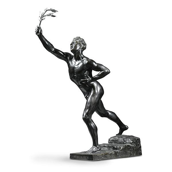 Max Kruse German, 1854-1942 , An Athlete bronze, green-brown patina
