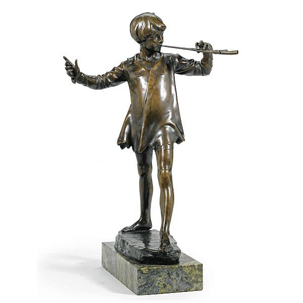 f - George James Frampton British, 1860-1928 , Peter Pan bronze, mid-brown patina, on veined green marble base
