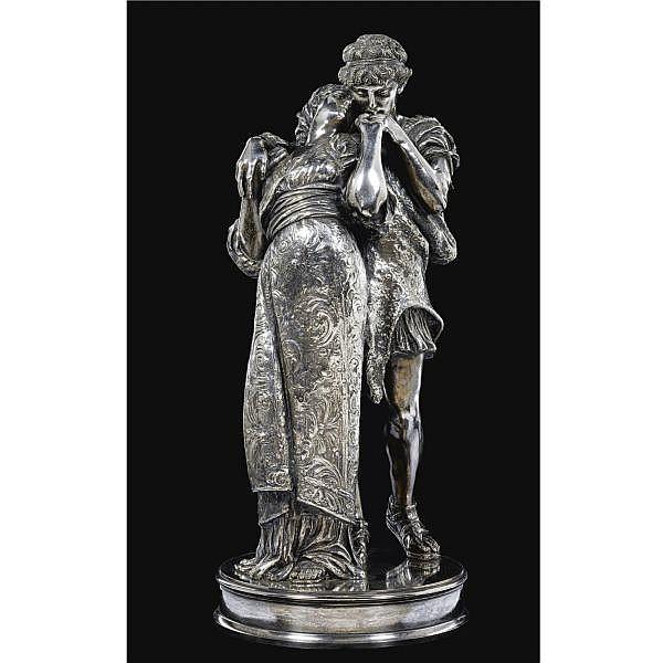 Giovan Battista Amendola Italian, 1848-1887 , Wedded silvered bronze