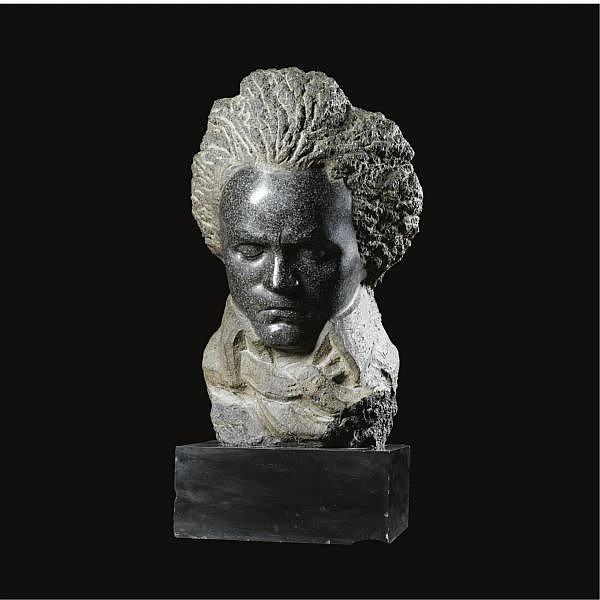 Honoré Sausse French, 1891-1936 , a head of Beethoven granite, on black stone base