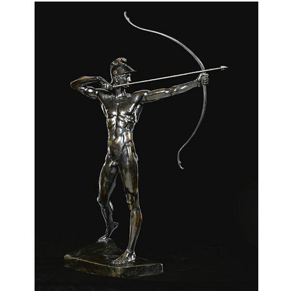 f - Ernst Moritz Geyger German, 1861-1941 , Bogenschütze (The Archer) bronze, dark brown patina