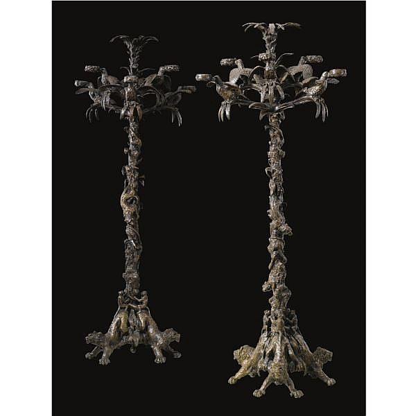 Christophe Fratin French, 1800-1864 , candelabres palmiers (a pair of palm tree candelabras) bronze, dark brown patina