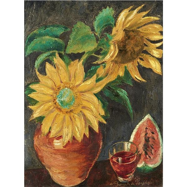 Georges Anatolievich Pogedaieff, 1899-1971 , two sunflowers oil on canvas