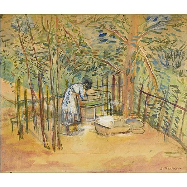 Vera Efimova Pestel, 1887-1952 , In the garden watercolour and pastel on paper