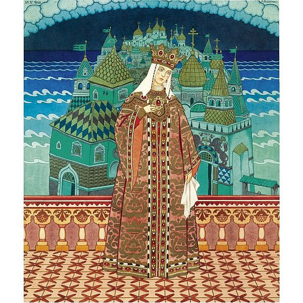 Ivan Yakovlevich Bilibin, 1876-1942 , Tsaritsa Militrissa watercolour over pencil on paper