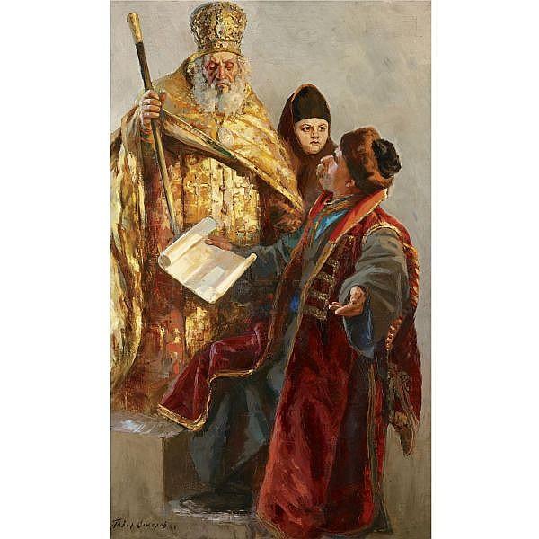 f - Pavel Petrovich Sokolov-Skalya, 1879-1961 , study for narod oil on canvas