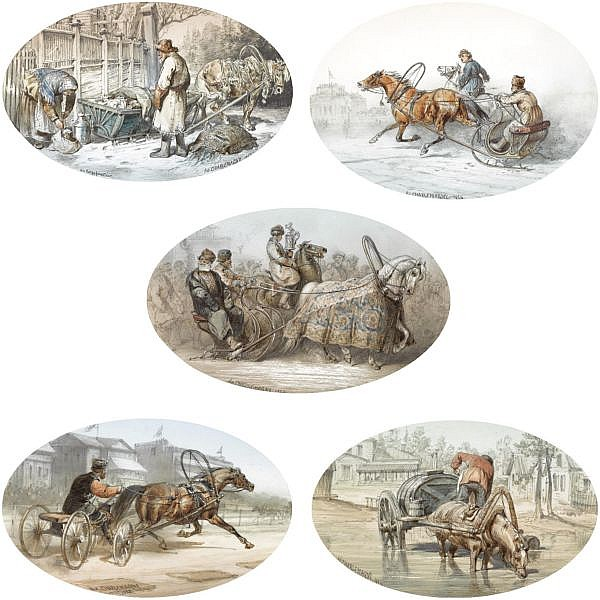 Adolphe Charlemagne, 1826-1901 , A group of five equine genre scenes watercolour over pencil on paper with gouache