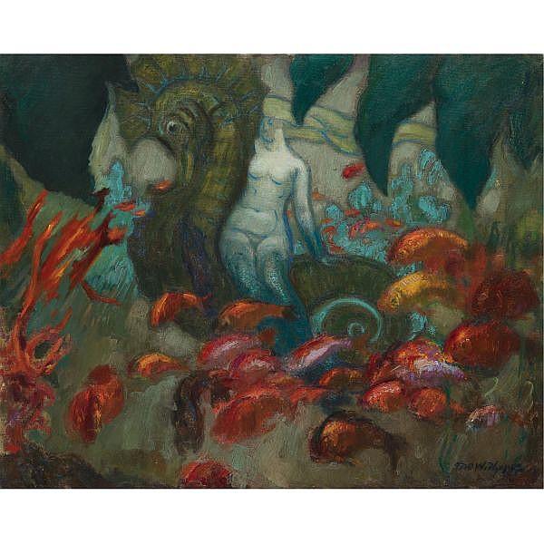David Osipovich Widhopff, 1867-1933 , underwater kingdom oil on canvas