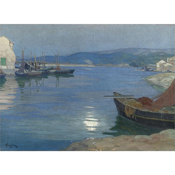 Ohannes Alhazian, 1881-1958 , full moon over the bay oil on canvas